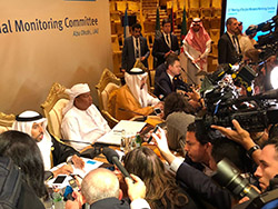 OPEC and non-OPEC officials speak to the media in Abu Dhabi, UAE