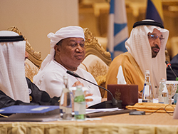 HE Mohammad Sanusi Barkindo, OPEC Secretary General (l); and HE Khalid A. Al-Falih, Saudi Arabia's Minister of Energy, Industry & Mineral Resources; and Chairman of the JMMC