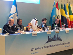 The President of the OPEC Conference for 2019 (first r), addressed the 13th meeting of the JMMC in Baku, Azerbaijan