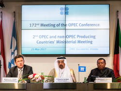 (l-r) HE Alexander Novak, Russia's Minister of Energy, HE Khalid A. Al-Falih, Saudi Arabia's Minister of Energy, Industry and Mineral Resources, and President of the OPEC Conference; and HE Mohammad Sanusi Barkindo, OPEC Secretary General