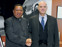 OPEC Secretary General Mohammad Sanusi Barkindo (l), with Eni's CEO Claudio Descalzi (ENI Photo)