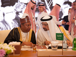 HE Khalid A. Al-Falih, Saudi Arabia's Minister of Energy, Industry & Mineral Resources and Chairman of the JMMC (r); with HE Mohammad Sanusi Barkindo, OPEC Secretary General
