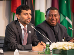 HE Suhail Mohamed Al Mazrouei, UAE Minister of Energy and Industry; and President of the OPEC Conference (l), with HE Mohammad Sanusi Barkindo, OPEC Secretary General