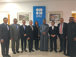 HE Barkindo, OPEC Secretary General and his delegation pictured in front of OPEC's stand at the symposium