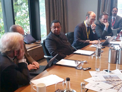 HE Barkindo, OPEC Secretary General, meets with the media, at the conference in London