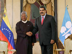 HE Nicolás Maduro Moros, President of Venezuela (r), meets with HE Mohammad Sanusi Barkindo, OPEC Secretary General, in the capital of Venezuela, Caracas