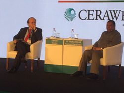 HE Barkindo, OPEC Secretary General (r) with Mr. Yergin, Vice Chairman, IHS Markit, and Chairman of CERAWeek