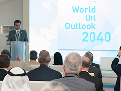 Dr. Ayed S. Al-Qahtani, Director of OPEC's Research Division, presents the WOO 2017 at ADIPEC