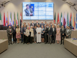 Group photo of the officials who attended the meeting at the OPEC Secretariat in Vienna, Austria