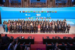 Group photo of the officials attending the 7th OPEC International Seminar, taken at the Hofburg Palace in Vienna, Austria