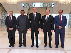 Group photo of Azerbaijan's President, Minister of Industry and Energy with OPEC Secretary General and his delegation