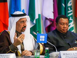 HE Khalid A. Al-Falih, Saudi Arabia's Minister of Energy, Industry & Mineral Resources (l) and HE Mohammad Sanusi Barkindo, OPEC Secretary General