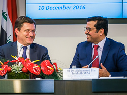 HE Dr. Mohammed Bin Saleh Al-Sada, OPEC Conference President (r) with HE Alexander Novak, Russia's Energy Minister