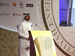 HE Dr. Mohammed Bin Saleh Al-Sada, Qatar's Minister of Energy and Industry, delivers his speech in Doha, Qatar