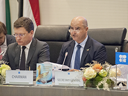 HE Issam A. Almarzooq, Kuwait's Minister of Oil and Minister of Electricity and Water, and Chairman of the JMMC (r); and HE Alexander Novak, Russia's Energy Minister