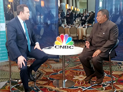 HE Mohammad Sanusi Barkindo, OPEC Secretary General (r), was interviewed by CNBC at CERAWeek 2018 in Houston, Texas