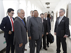 HE Mohammad Sanusi Barkindo, OPEC Secretary General; HE Eng. Carlos E. Pérez, Ecuador's Minister of Hydrocarbons; and accompanying delegation