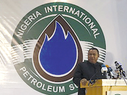 HE Mohammad Sanusi Barkindo, OPEC Secretary General, delivers his keynote address at the Summit in Abuja