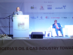HE Mohammad Sanusi Barkindo, OPEC Secretary General, delivers his address in Abuja, Nigeria