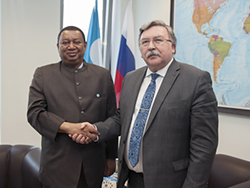 HE Mohammad Sanusi Barkindo, OPEC Secretary General (l) with HE Mikhail Ulyanov, Ambassador of the Russian Federation
