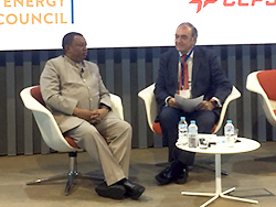 HE Mohammad Sanusi Barkindo, OPEC Secretary General (l); pictured with the Chair of the plenary session, Mr. Iñigo Diaz de Espada, at the CECME Annual General Meeting, in Madrid, Spain