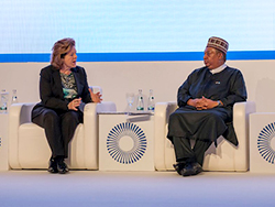 HE Mohammad Sanusi Barkindo, OPEC Secretary General, with Ms. Eithne Treanor, ADIPEC Moderator