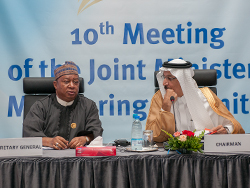 HE Mohammad Sanusi Barkindo, OPEC Secretary General (l); and HE Khalid A. Al-Falih, Saudi Arabia's Minister of Energy, Industry and Mineral Resources; and Chairman of the JMMC