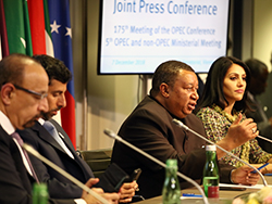 HE Mohammad Sanusi Barkindo, OPEC Secretary General, speaks to the media, at the Joint Press Conference; following the 5th OPEC and non-OPEC Ministerial Meeting
