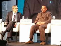 HE Mohammad Sanusi Barkindo, OPEC Secretary General (r), joined the plenary session at CERAWeek 2018