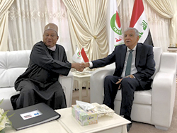 HE Jabbar Ali Hussein Al-luiebi, Iraq's Minister of Oil (r); with HE Mohammad Sanusi Barkindo, OPEC Secretary General