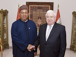 HE Dr. Fuad Masum, President of Iraq (r) with HE Mohammad Sanusi Barkindo, OPEC Secretary General