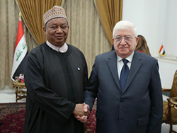 HE Fuad Masum, Iraq's President (r); with HE Mohammad Sanusi Barkindo, OPEC Secretary General