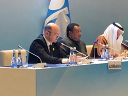 Azerbaijan's Minister of Energy (first l), welcomed the participants at the 13th JMMC Meeting in Baku