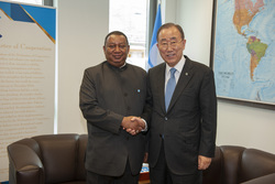 HE Ban Ki-moon, former UN Secretary General (r), visiting HE Mohammad Sanusi Barkindo, OPEC Secretary General, at the OPEC Secretariat