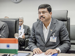HE Dharmendra Pradhan, India's Minister of Petroleum and Natural Gas, delivers his remarks at the meeting