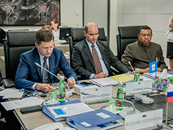 (l-r) HE Alexander Novak, Russia's Minister of Energy; HE  Issam A. Almarzooq, Kuwait's Minister of Oil and Minister of Electricity and Water; and HE Mohammad Sanusi Barkindo, OPEC Secretary General