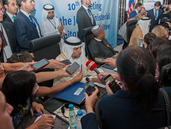 HE Suhail Mohamed Al Mazrouei, UAE's Minister of Energy and Industry; and President of the OPEC Conference, speaks to the media in Algiers, Algeria