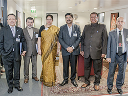 OPEC Secretary General and India's Minister of Petroleum and Natural Gas pictured with their delegation at the OPEC Secretariat
