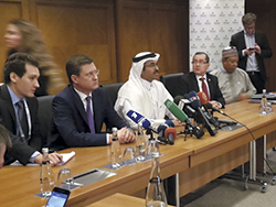 OPEC, non-OPEC Ministers and Secretary General addressing the press in Istanbul