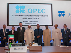 OPEC and non-OPEC ministers pictured with OPEC's Secretary General at the press conference