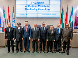 OPEC and non-OPEC Ministers pictured with HE Barkindo at the OPEC Secretariat