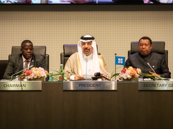 HE Khalid A. Al-Falih, OPEC Conference President (c); Mr. Estévâo Pedro, Angola's Governor for OPEC and Chairman of the Board of Governors (l); and HE Mohammad Sanusi Barkindo, OPEC Secretary General