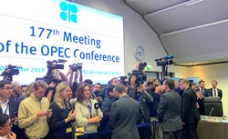Members of the press attending the opening session of the 177th Meeting of the OPEC Conference