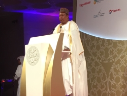 HE Mohammad Sanusi Barkindo, OPEC Secretary General, delivers his speech in Doha, Qatar