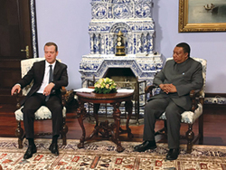 HE Mohammad Sanusi Barkindo, OPEC Secretary General (r), meets with Russia's Prime Minister, Dmitry Medvedev
