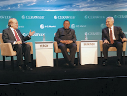 HE Mohammad Sanusi Barkindo, OPEC Secretary General (c), with Dr. Fatih Birol, IEA Executive Director (r), and Mr. Daniel Yergin, Vice Chairman, IHS Markit, and Chairman of CERAWeek, at the plenary session
