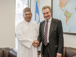 HE Günther Oettinger, the European Commissioner for Budget and Human Resources (r) and HE Mohammad Sanusi Barkindo, OPEC Secretary General