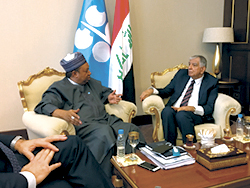 HE Barkindo (l) holds talks with HE Al-Luiebi