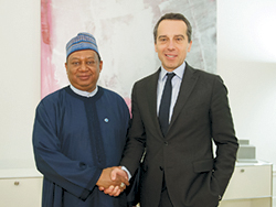 HE Christian Kern, Austria's Federal Chancellor (r) with HE Mohammad Sanusi Barkindo, OPEC Secretary General