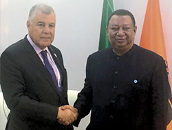 HE Mustapha Guitouni, Algeria's Minister of Energy (l) with HE Mohammad Sanusi Barkindo, OPEC Secretary General